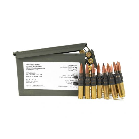 FEDERAL 50 BMG M33/M17 4:1 BALL AND TRACER LINKED AMMO, 100RD CAN – ZSAMA557MOI