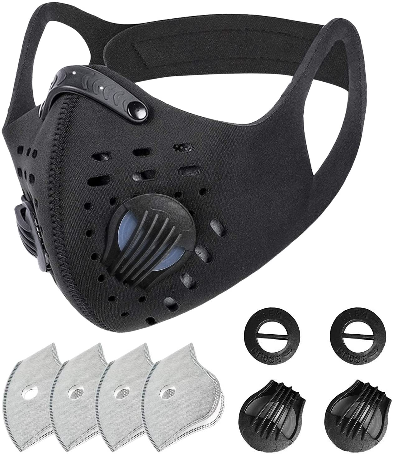 SKYLMW Face Mask Outdoor,Breathable Washable Dust Reusable Face Cover with 2 Replaceable Valves and 4 Replaceable Filters,for Workout Training Athletic Excersize Exercise Cycling Running Cover