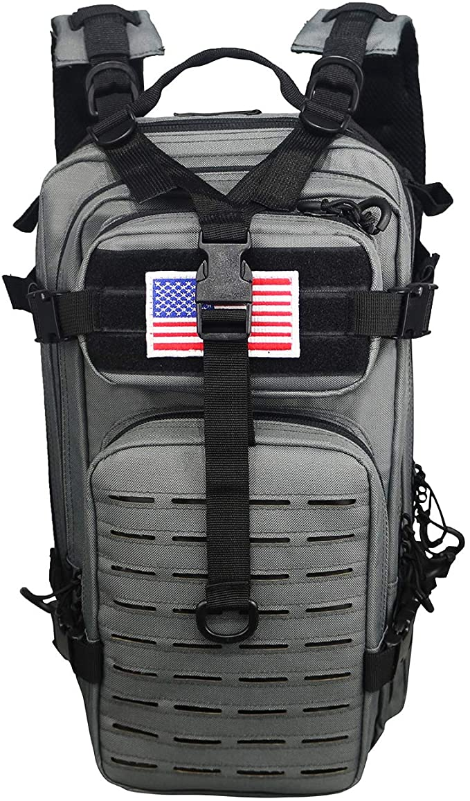Warriors Product Small Assault Backpack Military Tactical Backpack Bag with Flag Patch for Outdoor,Hiking, Camping Travel