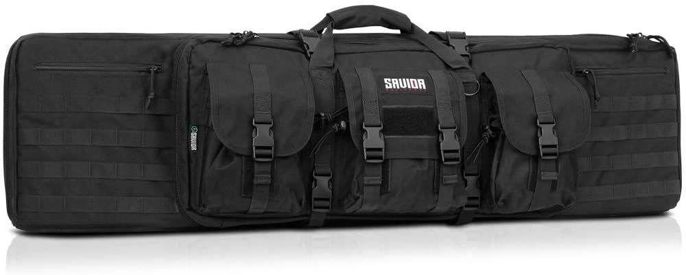 Savior Equipment American Classic Tactical Double Long Rifle Pistol Gun Bag Firearm Transportation Case w/Backpack – Lockable Compartment, Available Length in 36″ 42″ 46″ 51″ 55″
