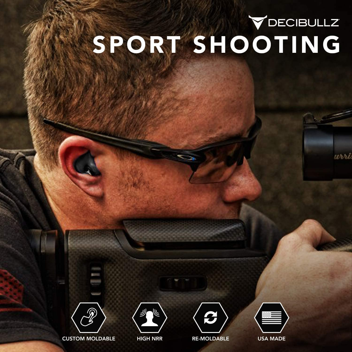 Decibullz – Custom Molded Earplugs, 31dB Highest NRR, Comfortable Hearing Protection for Shooting, Travel, Swimming, Work and Concerts