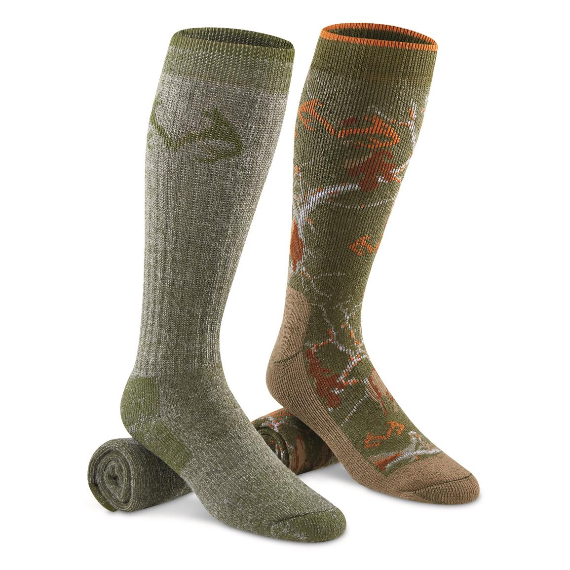 Realtree Men's Merino Wool Blend Boot Socks, 2 Pairs