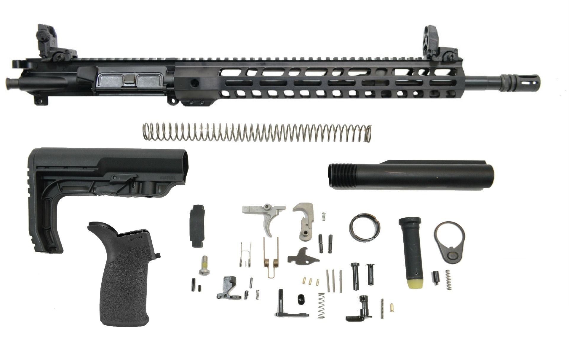 PSA 16″ CARBINE-LENGTH M4 5.56 NATO 1/7 NITRIDE 13.5″ LIGHTWEIGHT M-LOK MFT MINIMALIST EPT RIFLE KIT WITH MBUS SIGHT SET