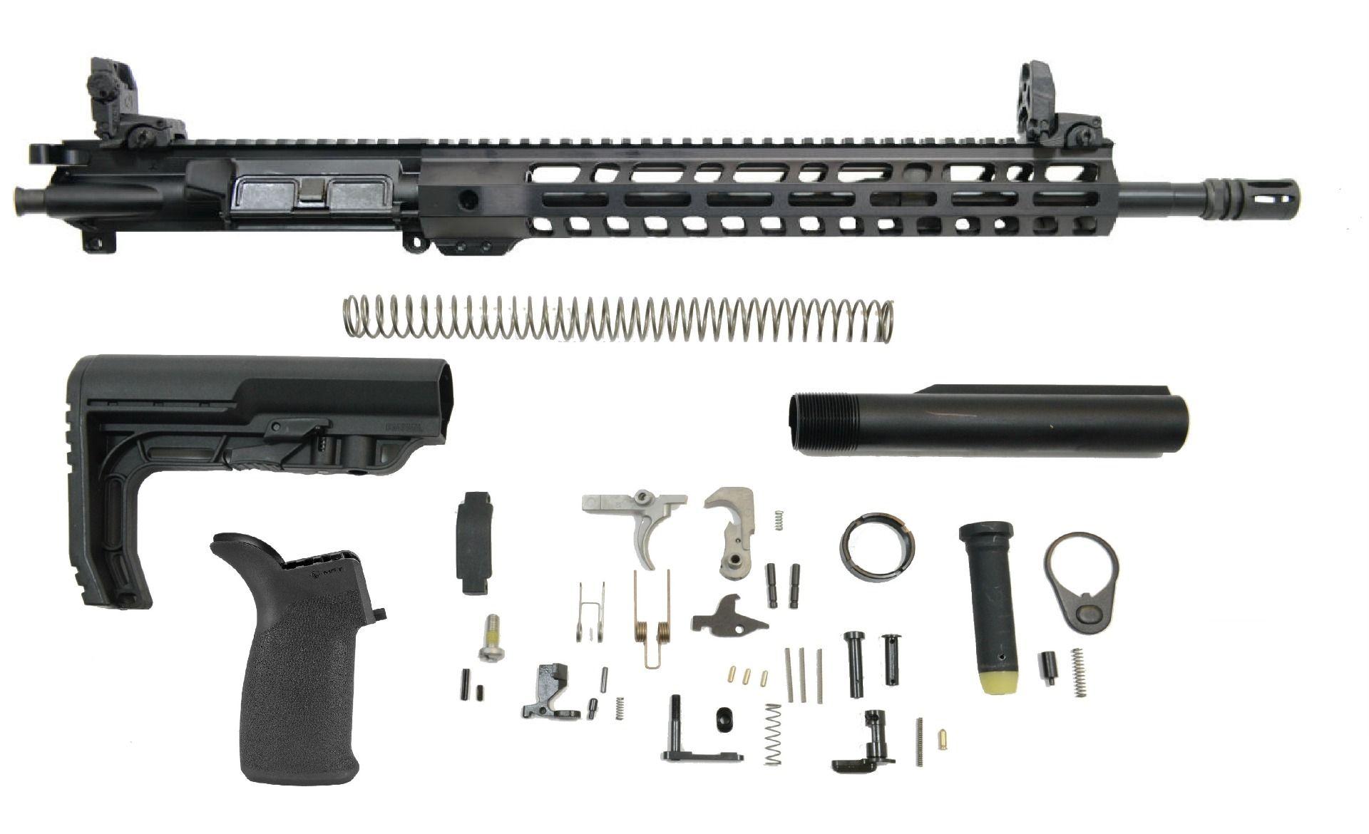 PSA 16″ CARBINE-LENGTH M4 5.56 NATO 1/7 NITRIDE 13.5″ LIGHTWEIGHT M-LOK MFT MINIMALIST EPT RIFLE KIT WITH MBUS SIGHT SET