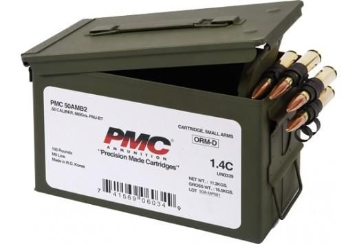 PMC Bronze .50 BMG Rifle Ammo – 660 Grain | FMJ-BT | 100rd Ammo Can
